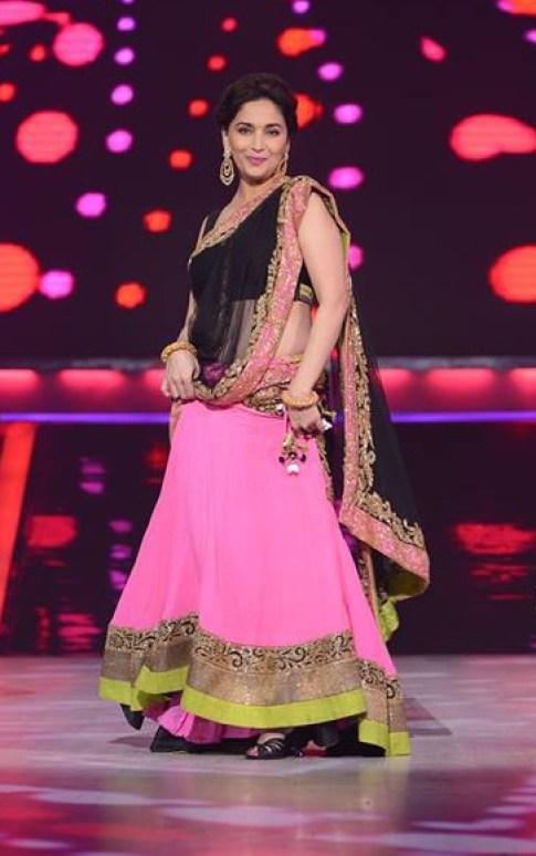 Madhuri Dixit pink and black lehenga saree