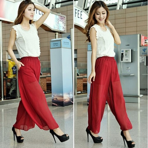 Chiffon women Wide leg pants