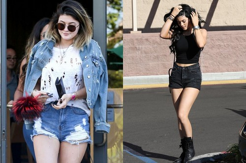Kylie Jenner wearing denim shorts