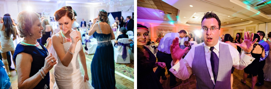 Bride dances with friends at wedding reception