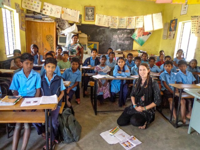 Volunteering in a government school in Bangalore, India while working to promote Leave Ur Mark