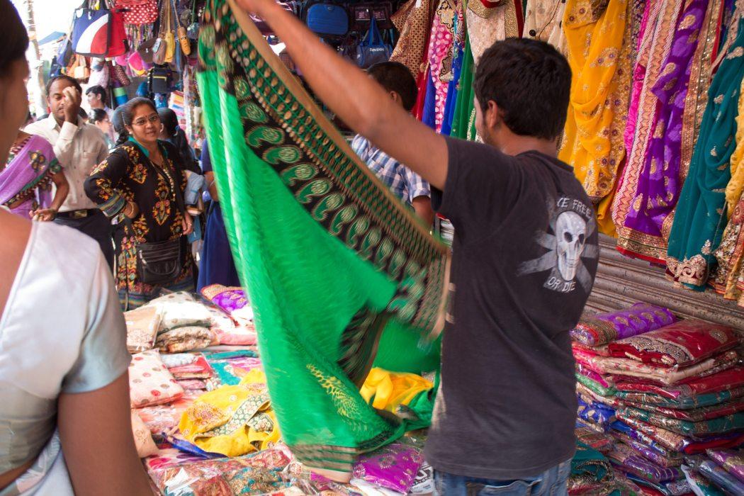 Shopping for saris at Mapusa Market