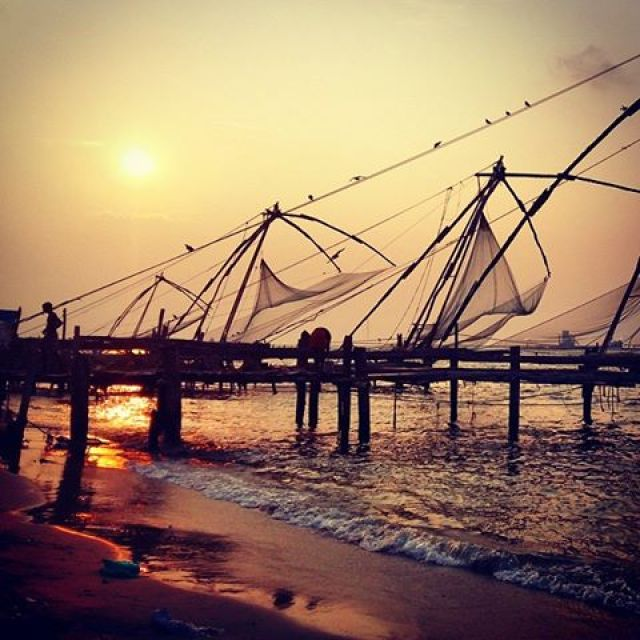 Sunset at the Chinese fishing nets in Fort Cochin