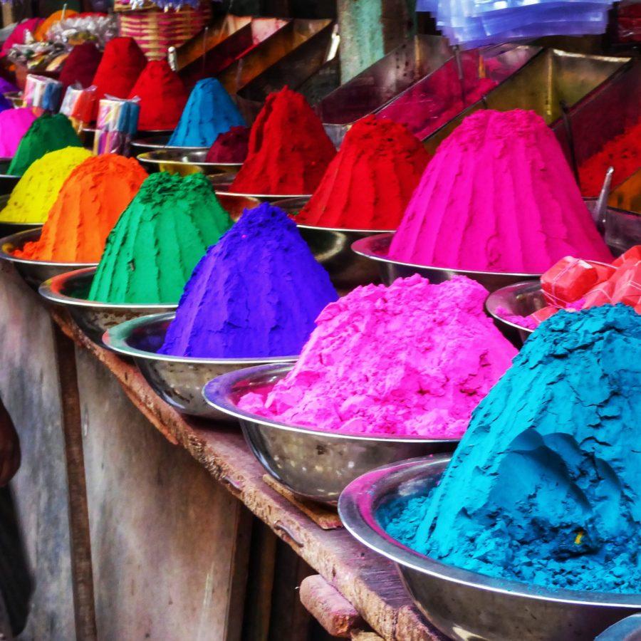 Coloured dyes for rangoli in Devaraja Market