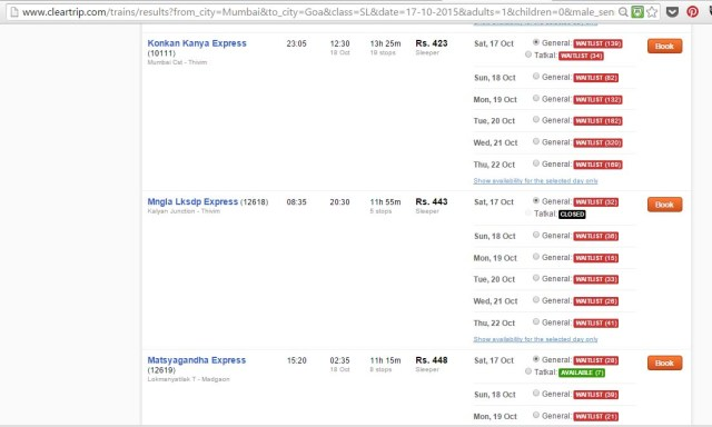 waiting lists for booking trains in india on clear trip