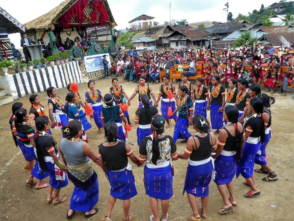 Konyak tribes dancing at the Aoling Festival in Nagaland