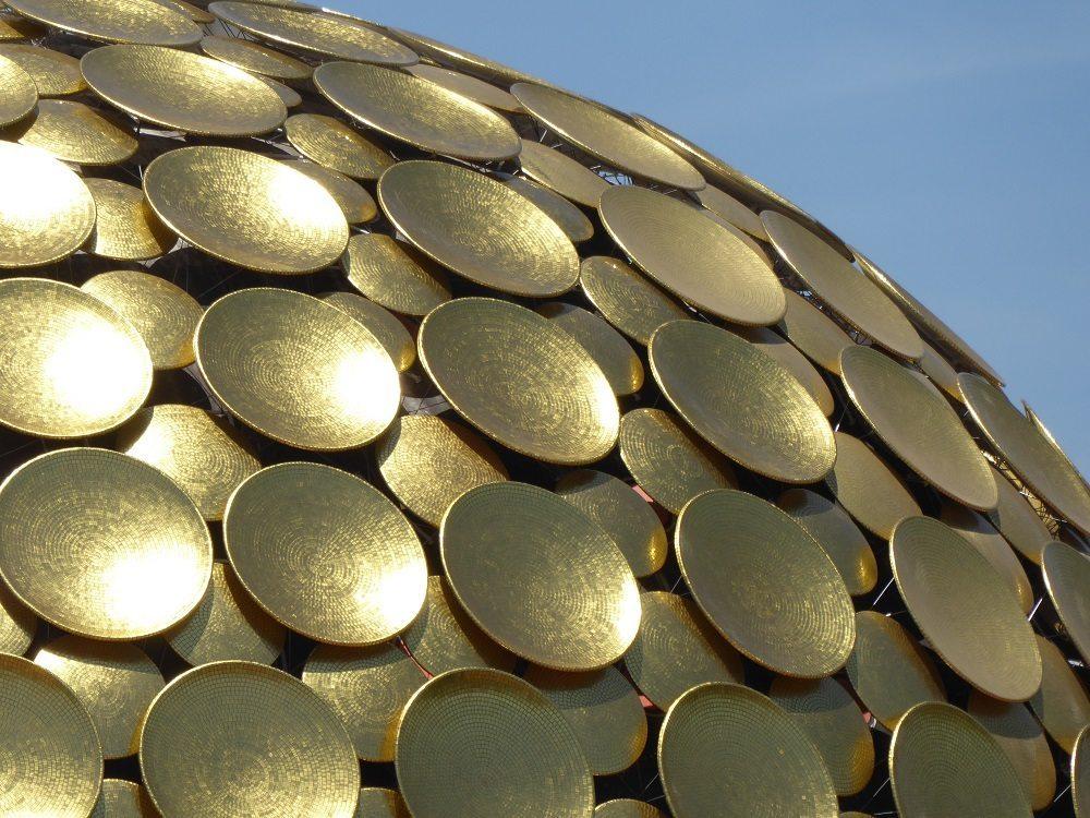 Close up of the golden Matrimandir at Auroville