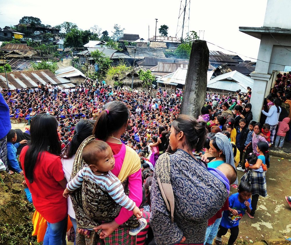 Crowds at the Aoling Festival celebrations in Wakching, Nagaland