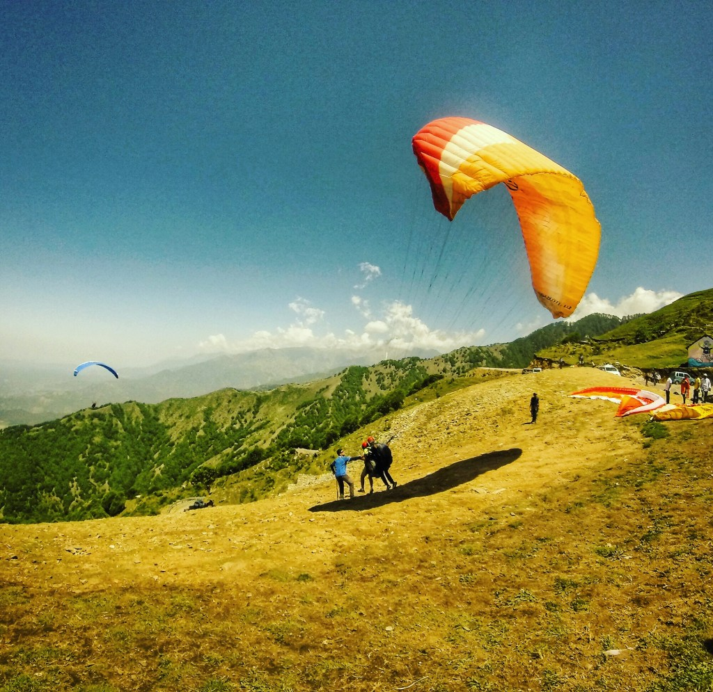 Taking off for paragliding in Bir Billing, India