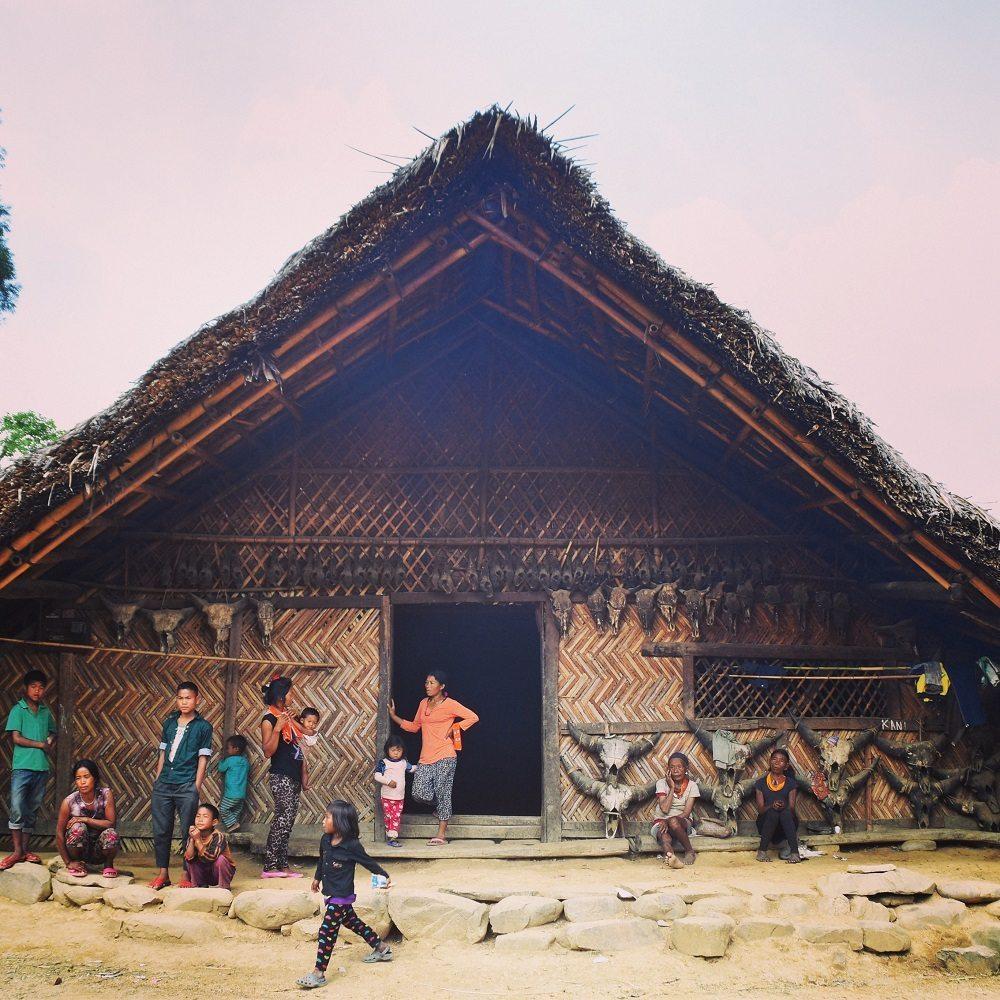Konyak hut in Longwa, Nagaland