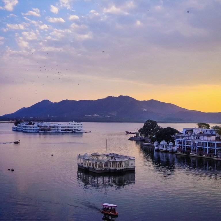 Sunset over the Lake palaces in Udaipur, Rajasthan, India