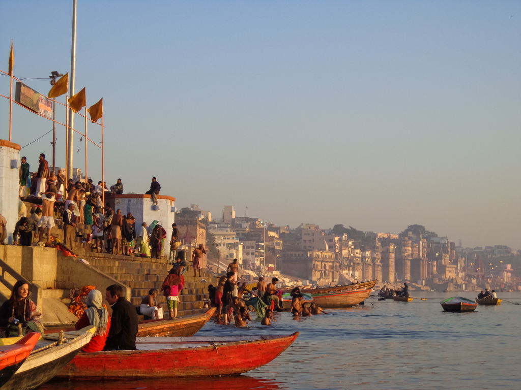 Along the ghats of the holy River Ganges in Varanasi