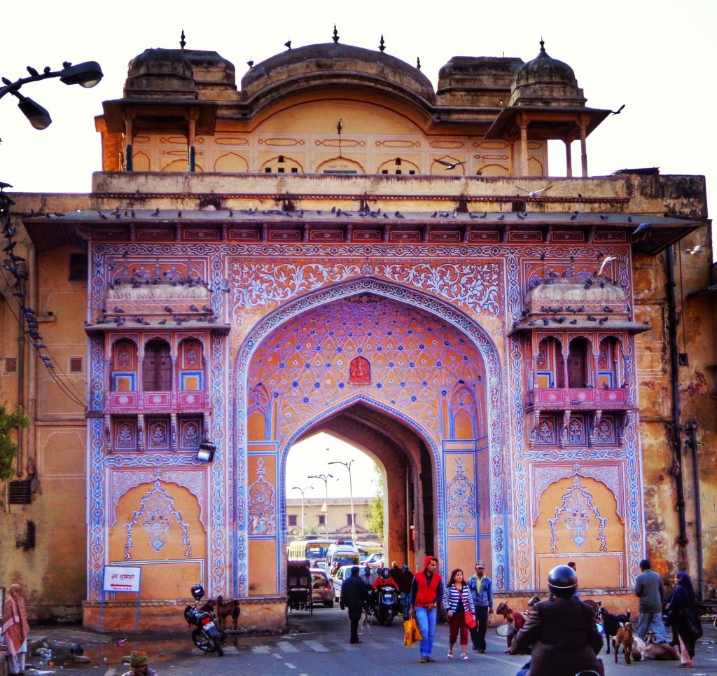 One of the gates leading to the City Palace in Jaipur, Rajasthan