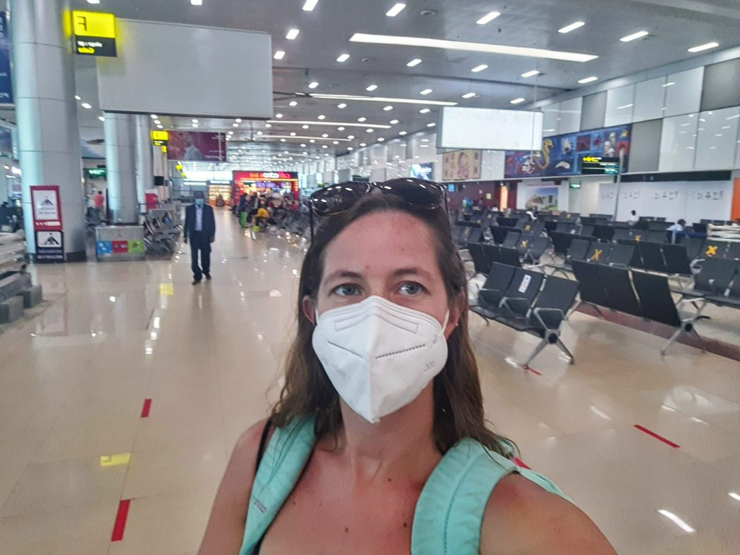 masks empty airports traveling backpacking mexico solo 2021