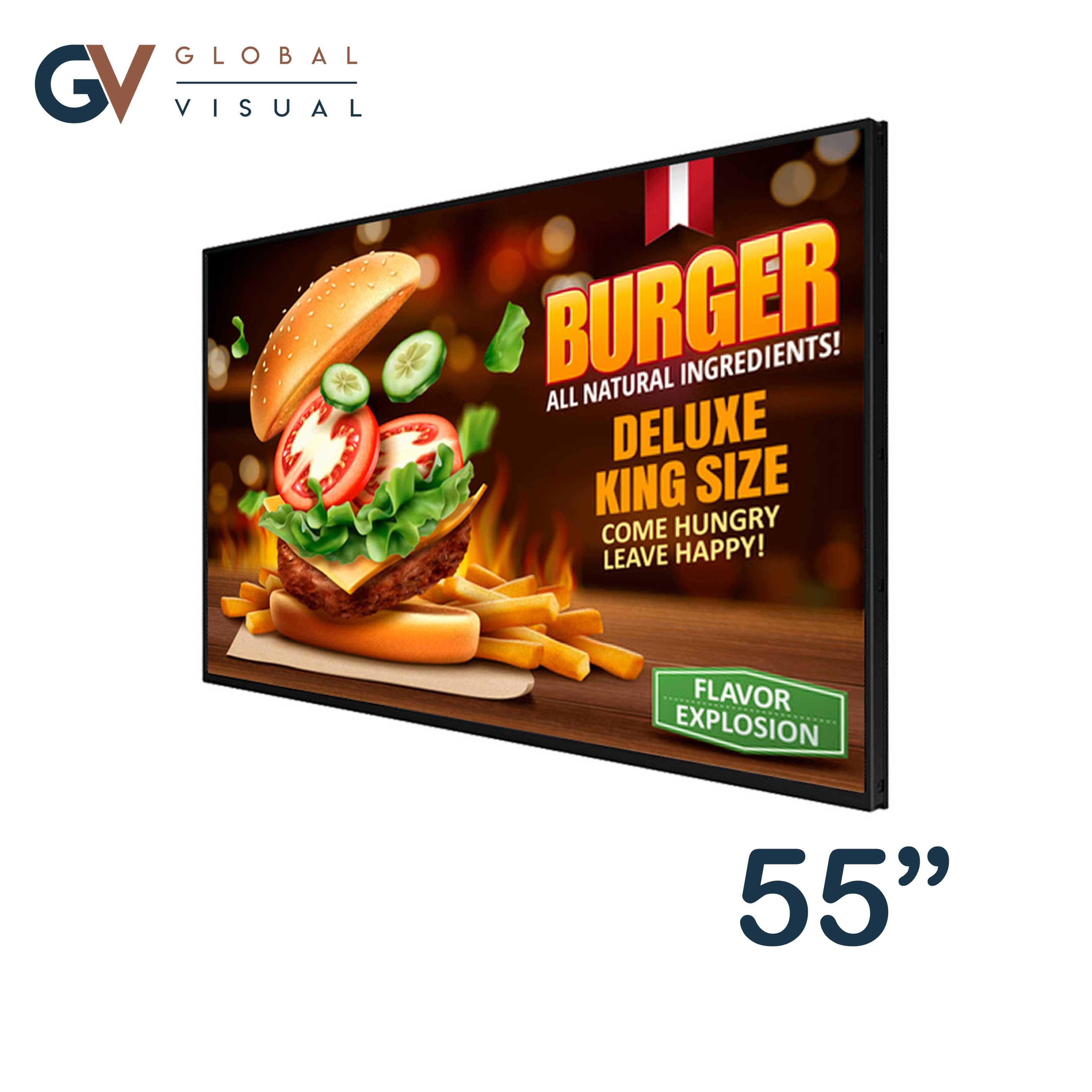 "Image of a 55"" digital menu board"