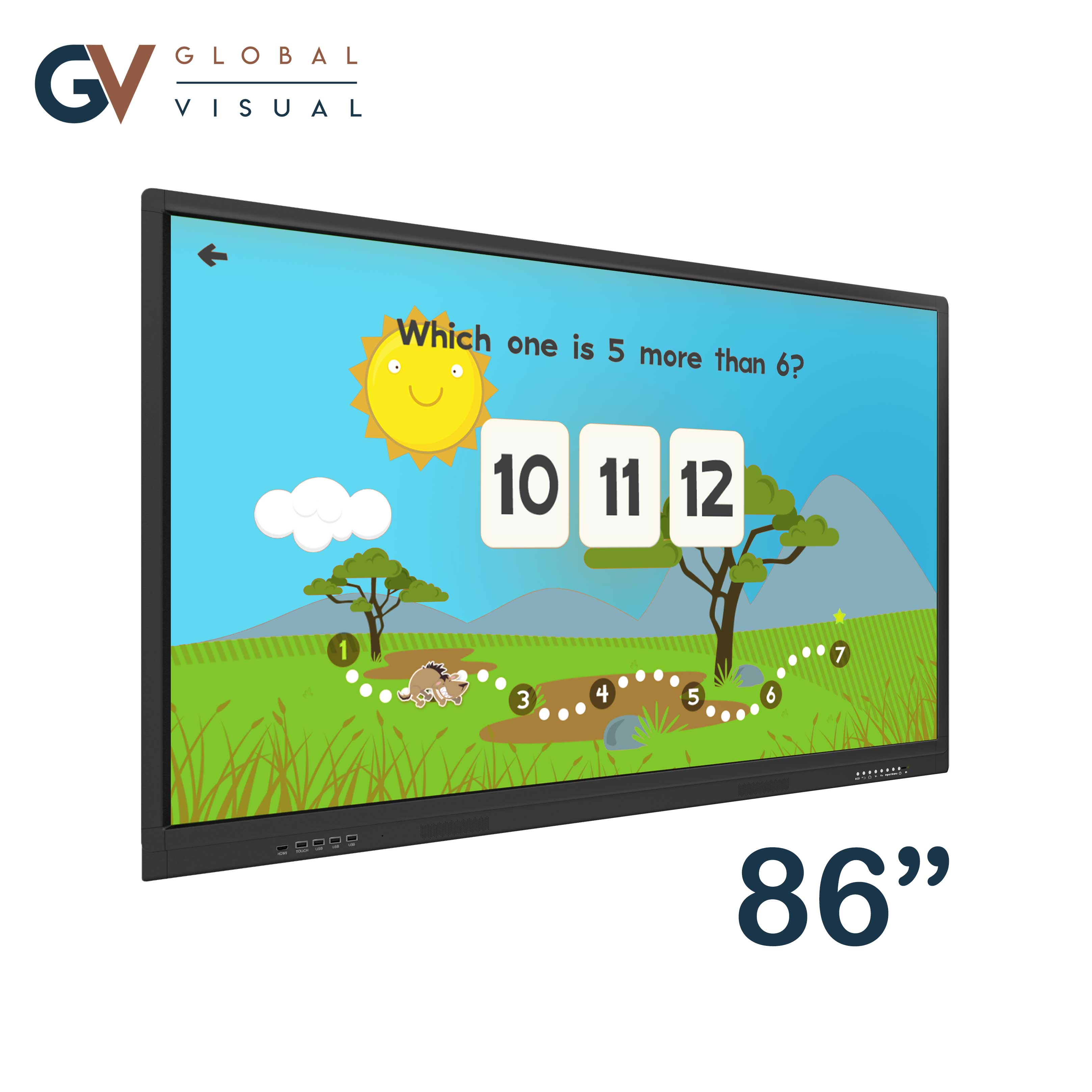 "Image of a 86"" class room interactive touch display"