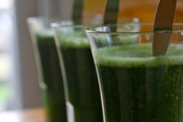 "A friend joked recently that if you're kale obsessed you could call yourself a ""kalivore."" Call yourself what you want, but a kale smoothie is the perfect way to start the day. Drink this first thing, and you're quickly energized. Yes, it's bright green and you might be a little skeptical about drinking it, but you'll soon find that it's a delicious and vitamin packed staple that you don't want to go a morning without."
