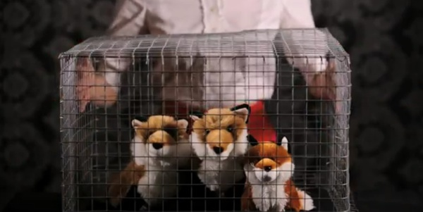 These cute props represent the sad reality of what goes on at fur farms. Photo Credit: YouTube