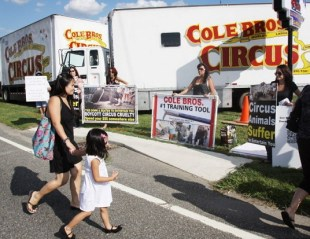 Circus customers walk by protesters on their way to the Cole Bros. Circus. Photo Credit: Calista Condo, Gloucester County Times