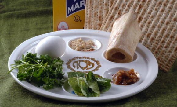 A traditional, non-vegan Seder plate. Photo Credit: Dan Goodman/Associated Press