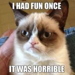 Grumpy cat I had fun once meme