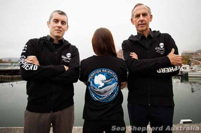 Campaign leaders Jeff Hansen and Bob Brown with crew member wearing  the new Operation Relentless t-shirt. Photo Credit: seashepherd.org.au