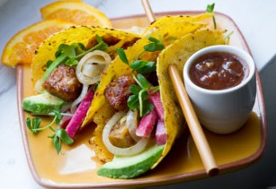 Celebrate Cinco de May with delicious vegan tempeh tacos. Photo Credit: lunchboxbunch.com