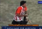 Argentinian Football Soccer Player Enzo Jimenez throws dog on field