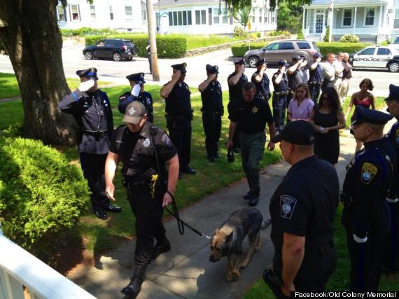 Plymouth Mass. police dog, Kaiser, makes one last walk, accompanied by his peers. Photo Credit: Facebook/Old Colony Memorial
