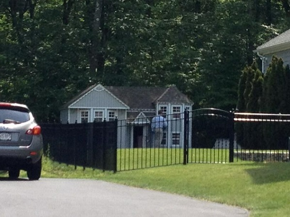 A picture of Aaron Hernandez's backyard doggy estate. Photo Credit: thebiglead.com