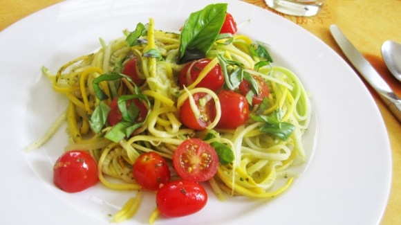 Fresh Tomato, Basil and Lemon Zucchini Pasta. Photo Credit: Vegangela