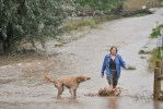 a woman walks with her dog in flooded driveway in Boulder, Colorado