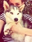 Miley Cyrus and pet husky dog