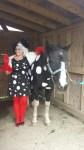dalmatian horse in halloween costume and Cruella Deville