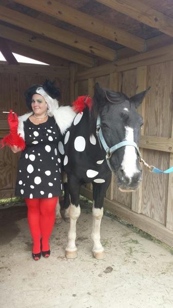 A dalmatian and Cruella Deville!