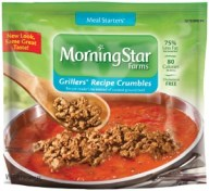 MorningStar Farms Meal Starters Grillers Recipe Crumbles are a low-cal addition to your chili, tomato sauce and tacos./Photo credit: Kelloggsfamily