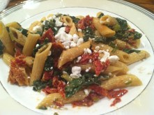 Spinach & goat cheese pasta is delicious and healthy way to enjoy your farmers market vegetables./Photo credit: Lisa Singer