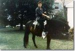 Elvis at Graceland on horse  1950s