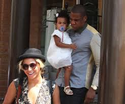 Power couple Beyonce and  Jay Z out walking with their baby daughter Blue Ivy Carter.