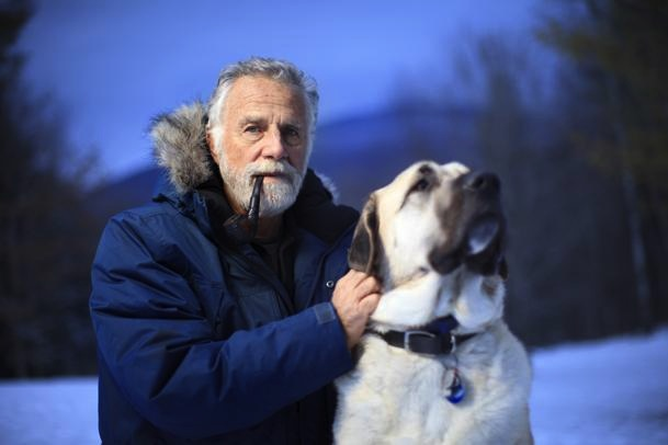 "Dos Equis' ""Most Interesting Man in the World"" is aiding in the fight against canine cancer. Goldsmith, pictured with his Anatolian shepherd Willy, made an online commercial for Orvis Co to help raise money for the Morris Animal Foundation./Photo credit: Boston.com"