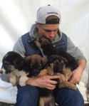 Olympian, Skier Gus Kenworthy with Puppies, rescue dogs