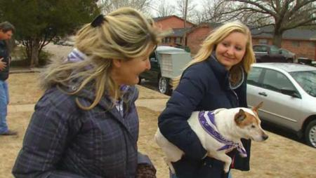 Cindy Sundgren, left, doesn't have her truck back, but she doesn't care. She's just happy that Scout is back with the family. Photo Credit: cbsnews.com