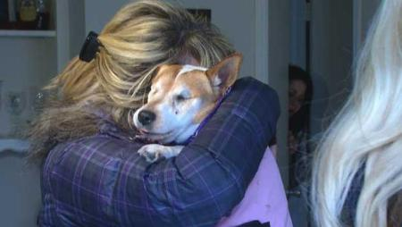 Cindy Sundgren hugs her dog, Scout, afer being reunited with the Jack Russell terrier. Photo Credit: cbsnews.com