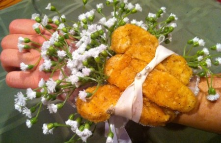 KFC's drumstick corsage commercial has had more than 250,000 views on YouTube. Now vegetarian prom-goers can also enjoy the unique trend with a meatless version to woo their dates with./Photo credit: Lisa Singer