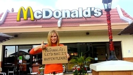 Kathy Freston, author and activist, January 2014 outside McDonalds petitioning the fast food chain to add meatless options to their American menu./Photo credit: mindbodygreen.com