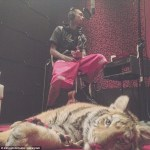 Rapper Tyga in studio with young pet tiger cub