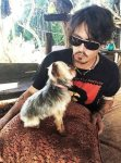 Johnny Depp with pet dog, yorkshire terrier