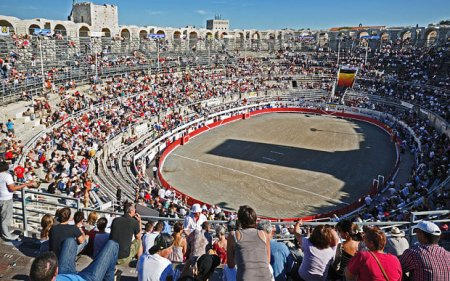 Huge crowds gather in Arles southern France for a bull fight. Photo Credit: Telegraph