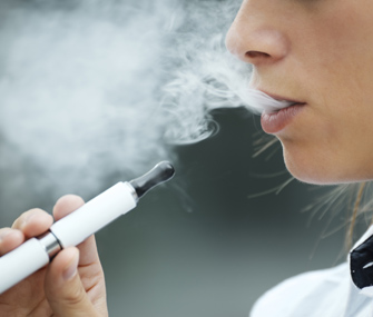 E-cigarettes can contain up to 80 milligrams per teaspoon of nicotine. Photo credit: Thinkstock