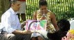 President and First Lady Michelle read to children as Bo steals the show at Easter Egg Roll